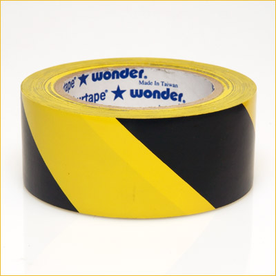 "VP 415 3"" Black/Yellow Hazard Stripe Tape (Roll)"
